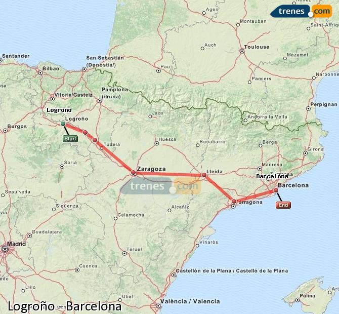 Ampliar mapa Trenes Logroño Barcelona