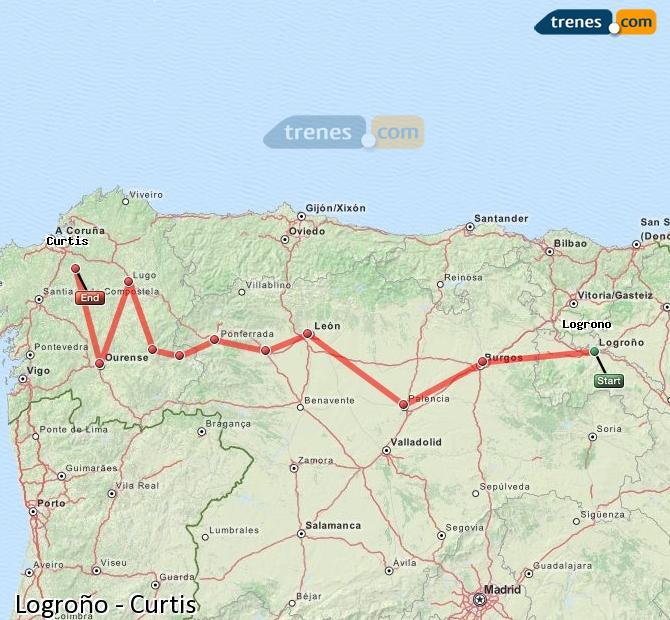 Karte vergrößern Züge Logroño Curtis
