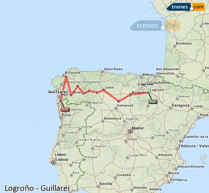 Ingrandisci la mappa Treni Logroño Guillarei
