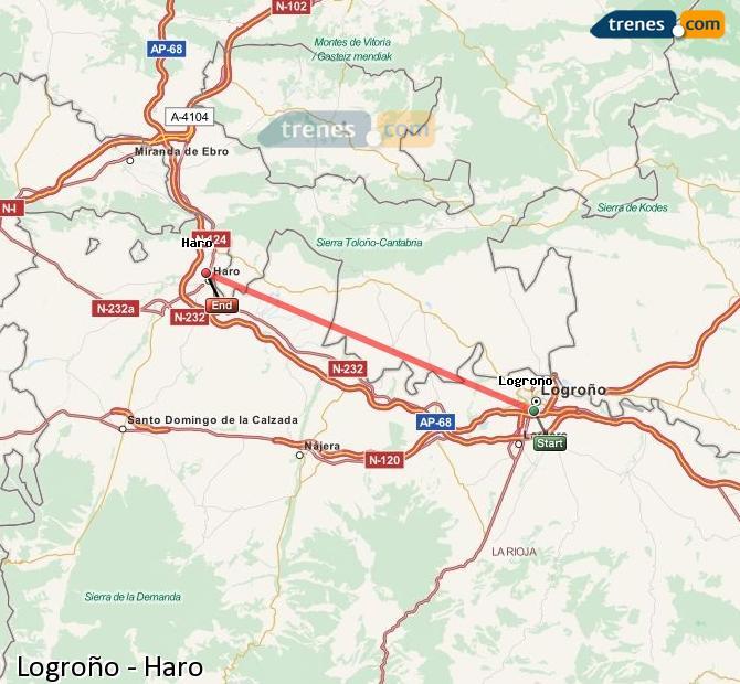 Ingrandisci la mappa Treni Logroño Haro
