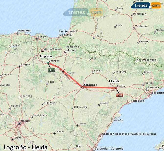 Ampliar mapa Trenes Logroño Lleida