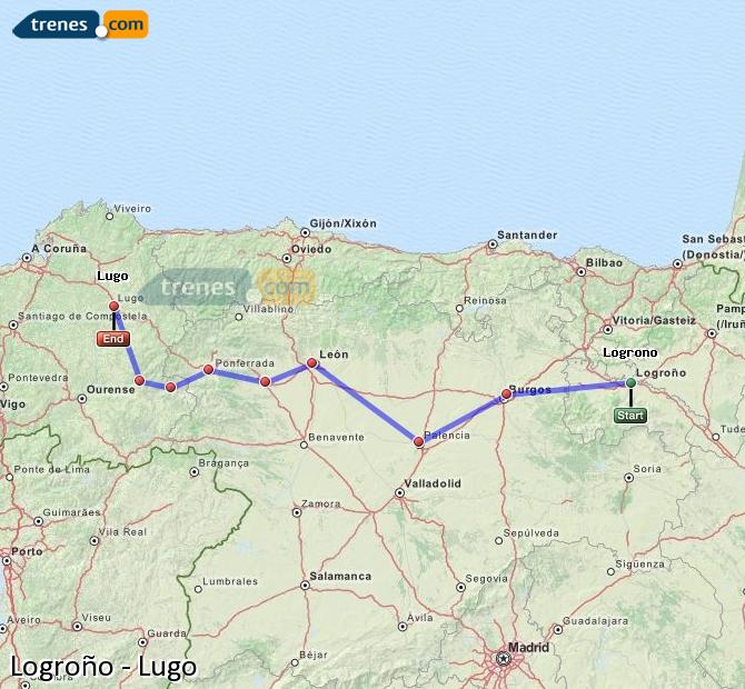 Enlarge map Trains Logrono to Lugo