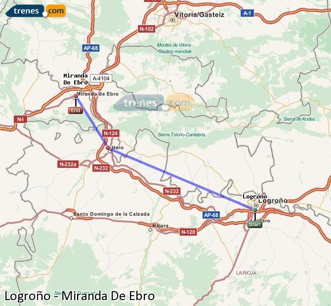 Agrandir la carte Trains Logroño Miranda De Ebro