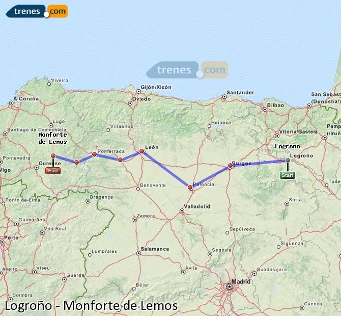 Ingrandisci la mappa Treni Logroño Monforte de Lemos