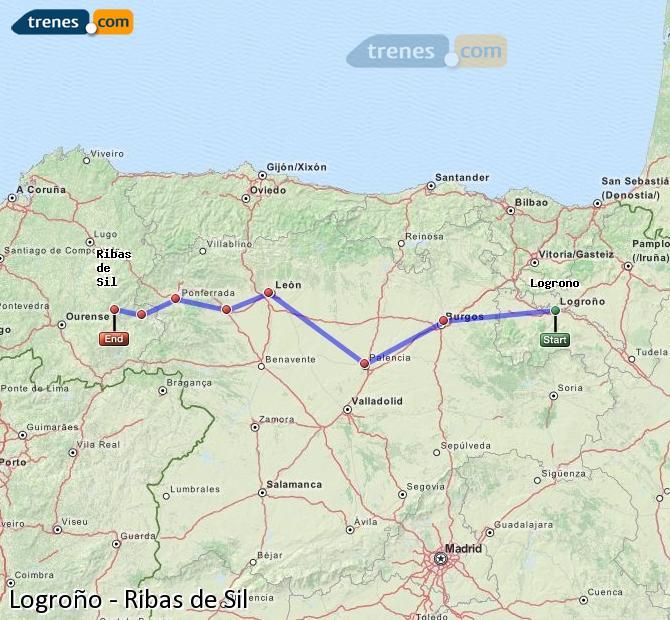Karte vergrößern Züge Logroño Ribas de Sil