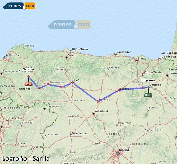 Enlarge map Trains Logrono to Sarria