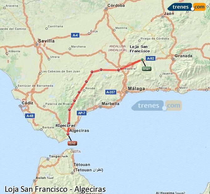 Ampliar mapa Comboios Loja San Francisco Algeciras