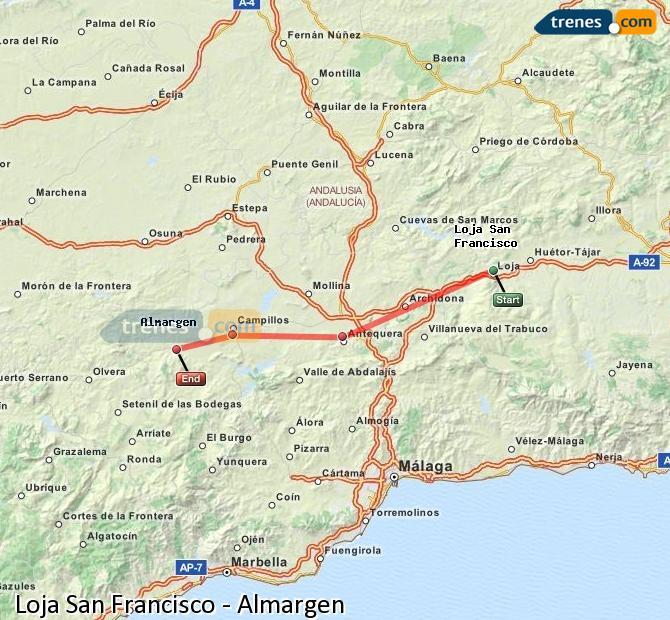 Karte vergrößern Züge Loja San Francisco Almargen