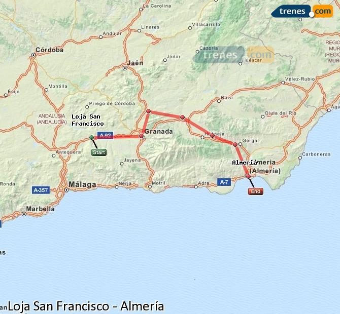 Karte vergrößern Züge Loja San Francisco Almería