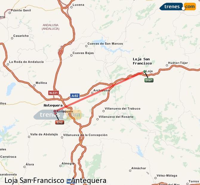 Karte vergrößern Züge Loja San Francisco Antequera