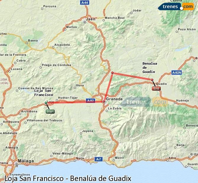 Karte vergrößern Züge Loja San Francisco Benalúa de Guadix