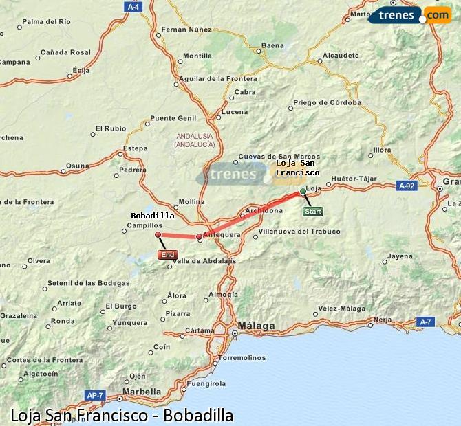 Agrandir la carte Trains Loja San Francisco Bobadilla