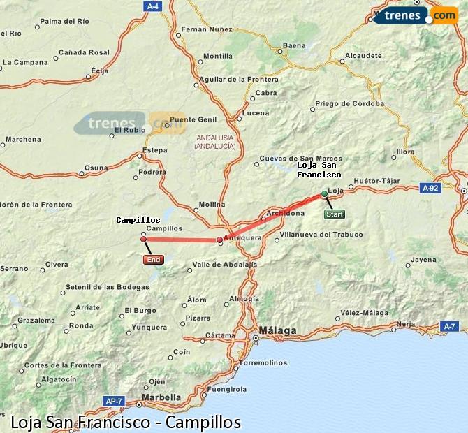 Enlarge map Trains Loja San Francisco to Campillos