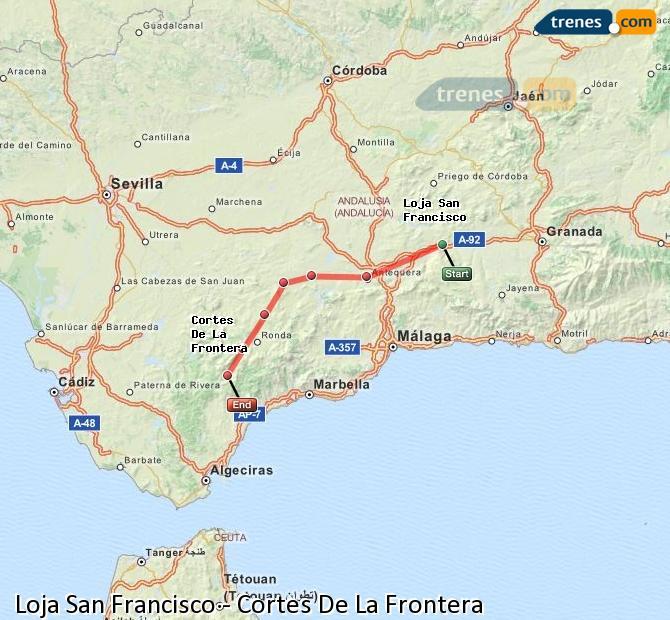 Ingrandisci la mappa Treni Loja San Francisco Cortes De La Frontera