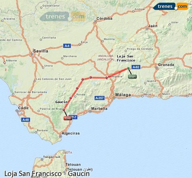 Ampliar mapa Trenes Loja San Francisco Gaucín