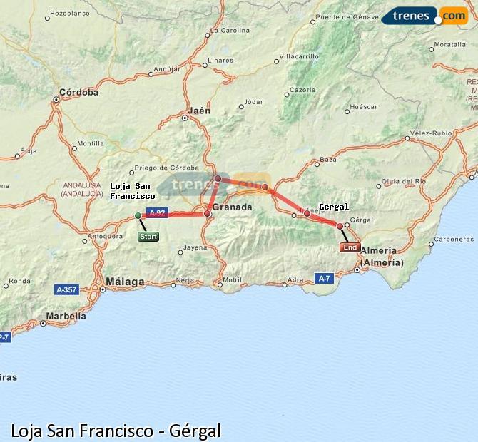 Karte vergrößern Züge Loja San Francisco Gérgal