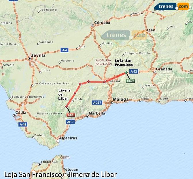 Ingrandisci la mappa Treni Loja San Francisco Jimera de Líbar