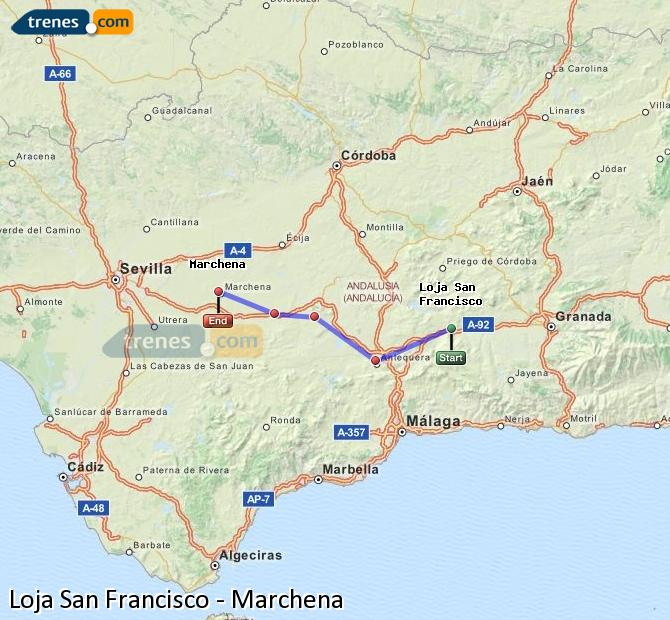 Enlarge map Trains Loja San Francisco to Marchena