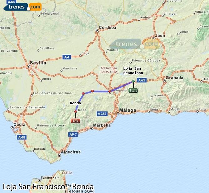 Enlarge map Trains Loja San Francisco to Ronda