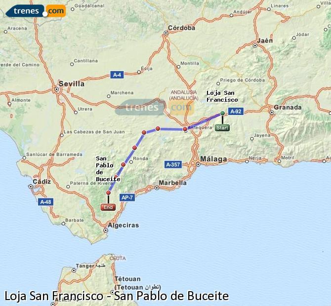 Enlarge map Trains Loja San Francisco to San Pablo de Buceite