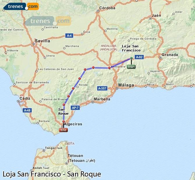 Enlarge map Trains Loja San Francisco to San Roque