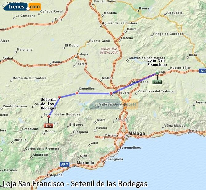 Agrandir la carte Trains Loja San Francisco Setenil de las Bodegas