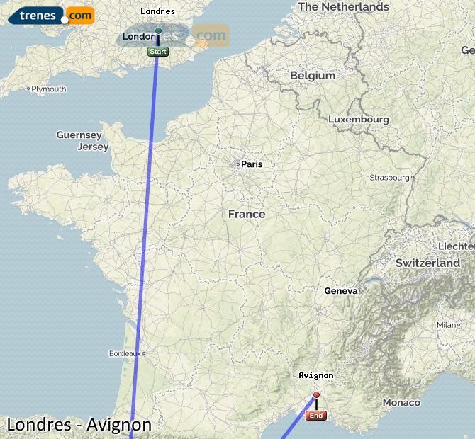 Agrandir la carte Trains London Avignon