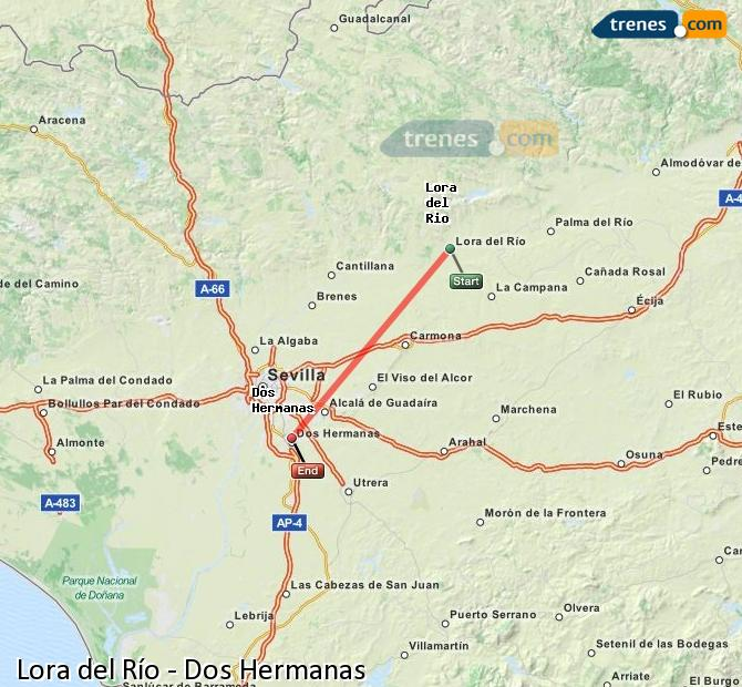 Agrandir la carte Trains Lora del Río Dos Hermanas