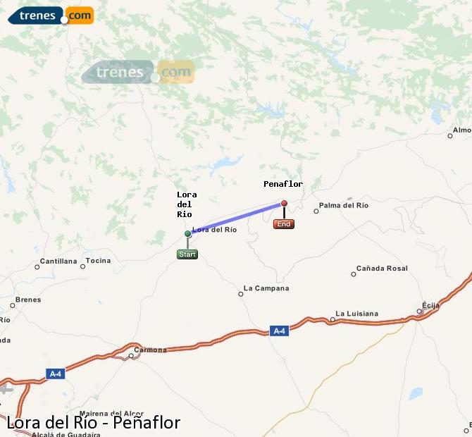 Agrandir la carte Trains Lora del Río Peñaflor