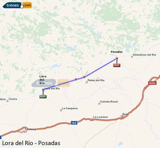 Enlarge map Trains Lora del Río to Posadas