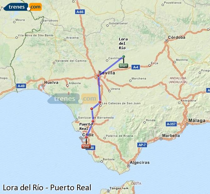 Enlarge map Trains Lora del Río to Puerto Real