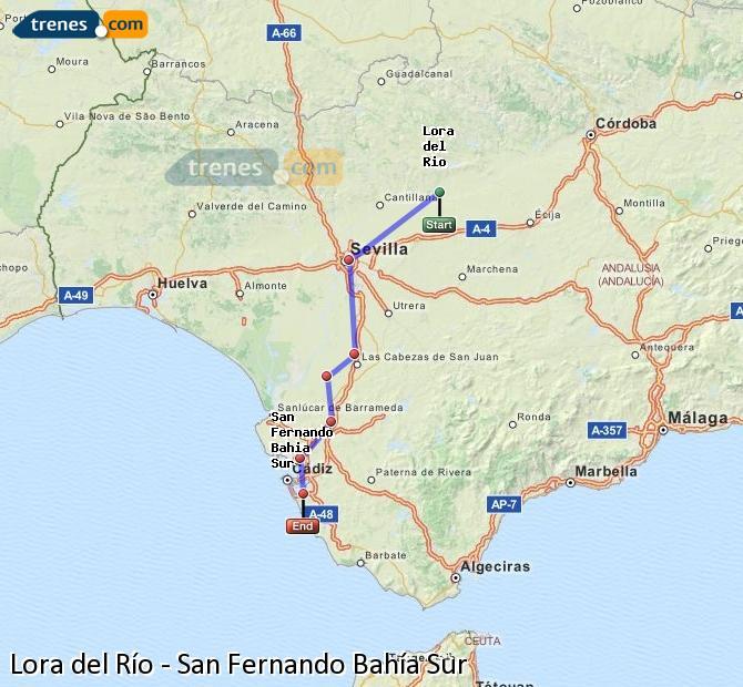 Enlarge map Trains Lora del Río to San Fernando South Bay