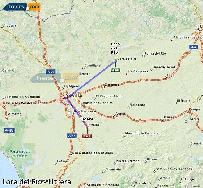 Enlarge map Trains Lora del Río to Utrera