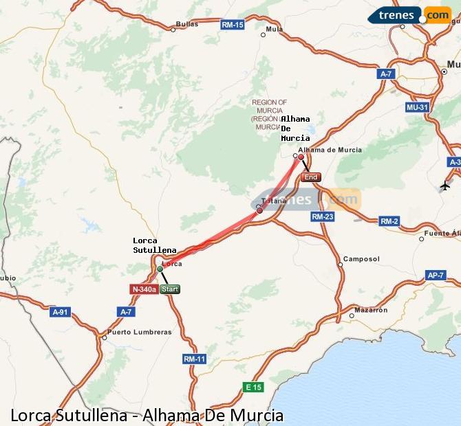 Ampliar mapa Trenes Lorca Sutullena Alhama De Murcia