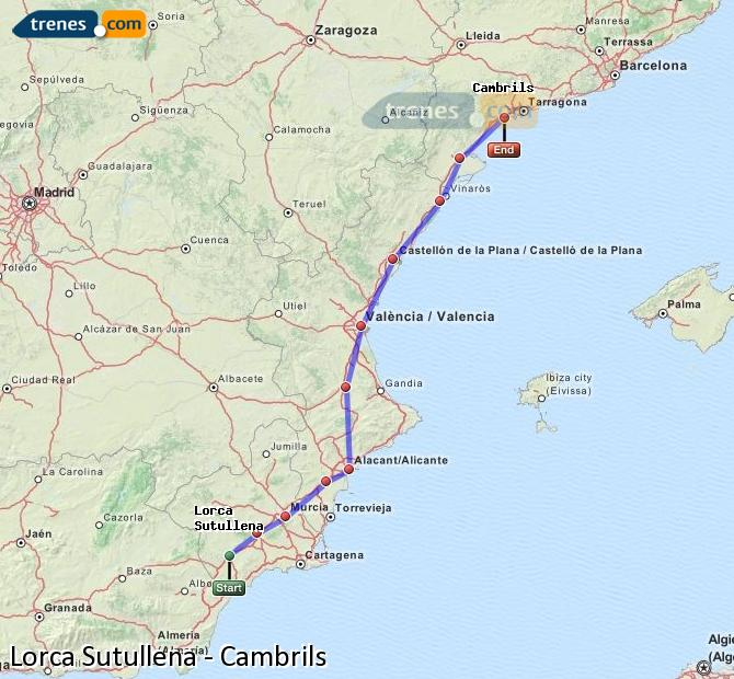 Enlarge map Trains Lorca Sutullena to Cambrils