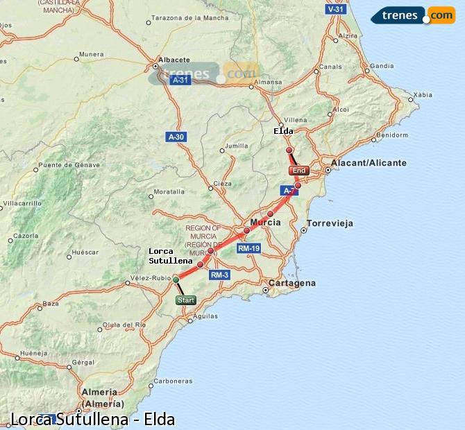Agrandir la carte Trains Lorca Sutullena Elda