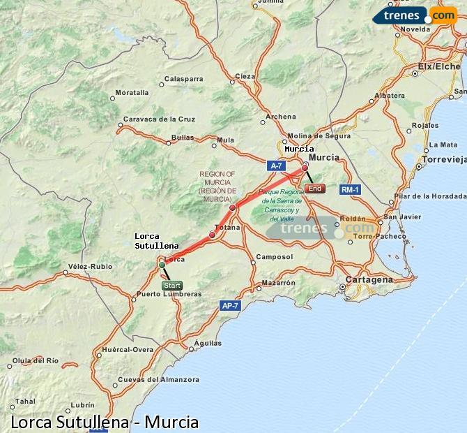 Agrandir la carte Trains Lorca Sutullena Murcia