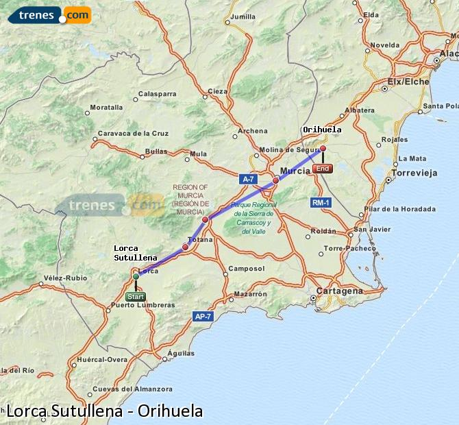 Enlarge map Trains Lorca Sutullena to Orihuela