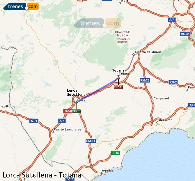 Enlarge map Trains Lorca Sutullena to Totana