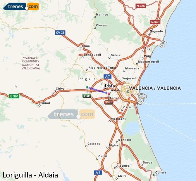 Agrandir la carte Trains Loriguilla Aldaia