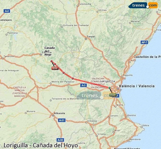 Ampliar mapa Comboios Loriguilla Cañada del Hoyo