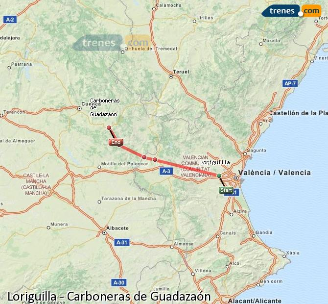 Enlarge map Trains Loriguilla to Carboneras of Guadazaón