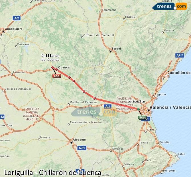 Ampliar mapa Comboios Loriguilla Chillarón de Cuenca