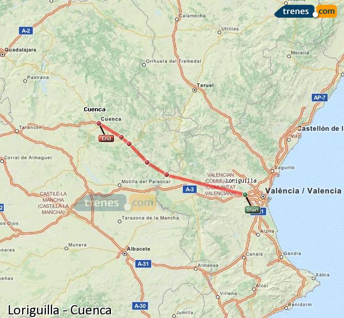 Enlarge map Trains Loriguilla to Cuenca