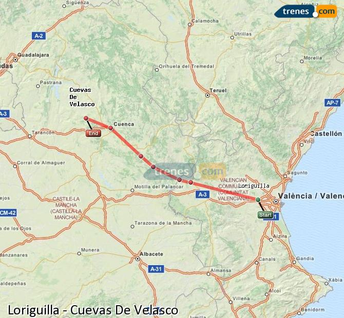 Enlarge map Trains Loriguilla to Cuevas De Velasco