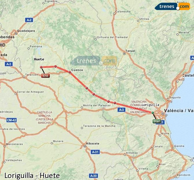 Enlarge map Trains Loriguilla to Huete