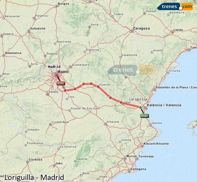Enlarge map Trains Loriguilla to Madrid