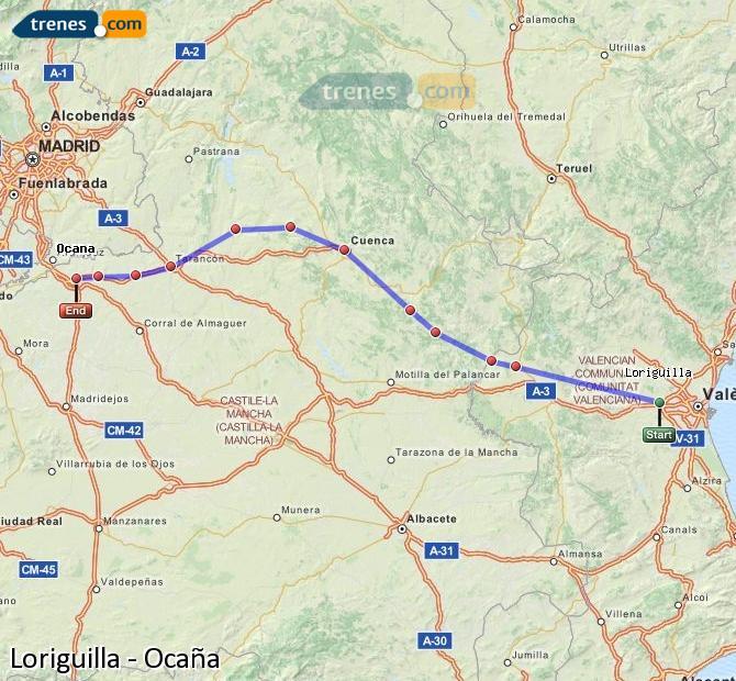 Enlarge map Trains Loriguilla to Ocaña