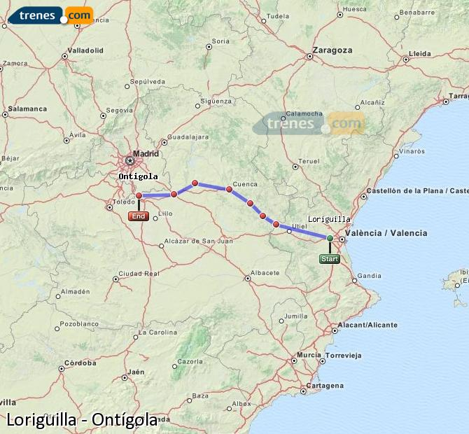 Enlarge map Trains Loriguilla to Ontígola