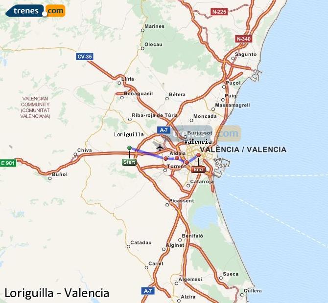 Enlarge map Trains Loriguilla to Valencia
